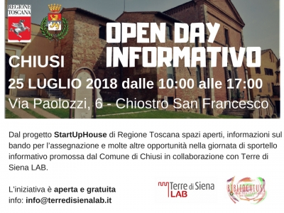 #StartUpHouse Chiusi: vi aspettiamo all'Open Day Informativo